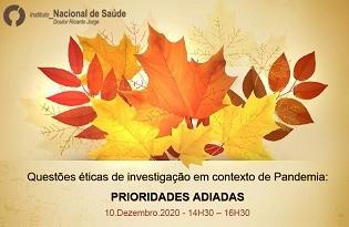imagem do post do Comissão de Ética do Instituto Ricardo Jorge promove webinar sobre questões éticas de investigação em contexto de pandemia